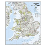 England & Wales Political Wall Map - National Geographic. National Geographic's Classic style wall map of England and Wales (Cymru) provides exceptional detail of two of the three regions that make up the island of Great Britain. The map features a bright