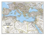 Countries of the Mediterranean Classic National Geographic Wall Map