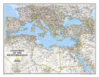 Countries of the Mediterranean Classic National Geographic Wall Map. This National Geographic wall map features the countries bordering the great inland sea the Mediterranean. Exquisitely detailed, this reference map contains hundreds of place names, many