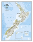 New Zealand Political Wall Map - National Geographic. The reference map of New Zealand uses National Geographic's signature Classic style with blue oceans and stunning shaded relief. The map shows this island nation in great detail, from the subtropical N