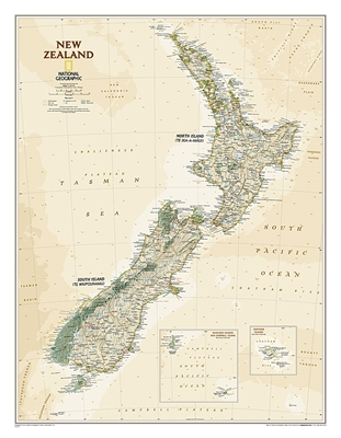 New Zealand Executive Wall Map - National Geographic. The reference map of New Zealand uses National Geographic's Executive style with an antique-style color palette and stunning shaded relief. The map shows this island nation in great detail, from the su