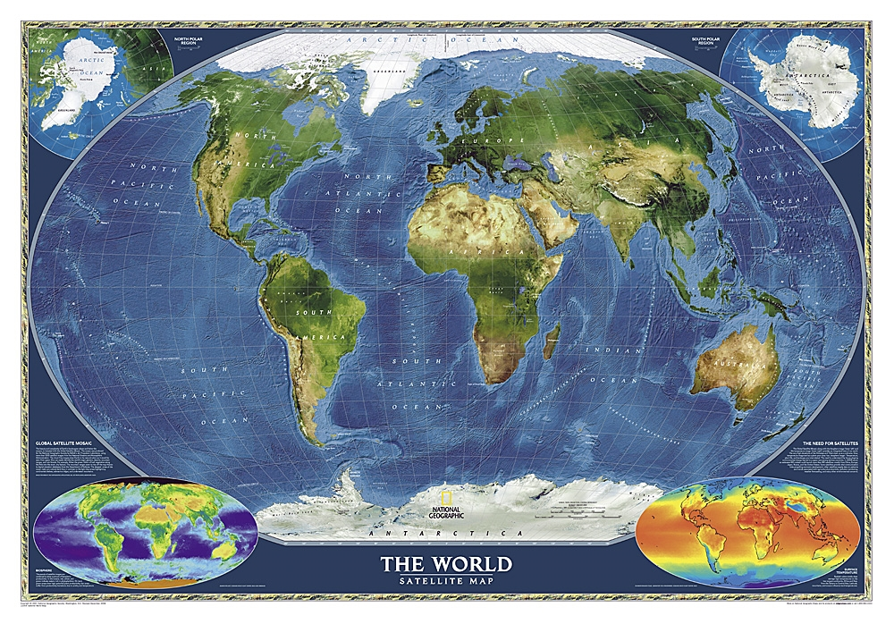 Geographic Map Of Earth.World Satellite National Geographic Wall Map