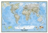 World Classic National Geographic Wall Map. This map features the Winkel Tripel projection to reduce distortion of land masses as they near the poles. Features include subtle border coloring on land, and prevailing winds and ocean currents at sea. Separat