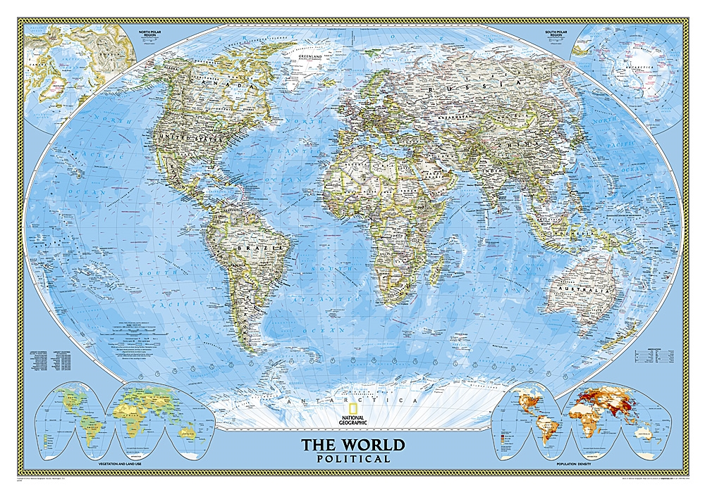 World Classic National Geographic Wall Map. This map features the ...