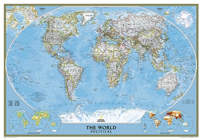World Classic National Geographic Wall Map 3 Sheet Mural