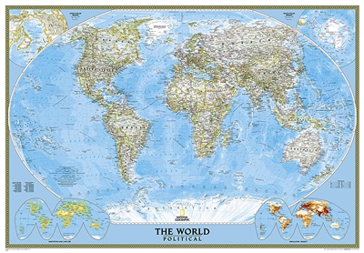 World Classic National Geographic Wall Map Enlarged