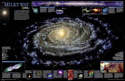 The Milky Way National Geographic Poster. This computer-generated image of the Milky Way shows the entire galaxy in one perspective of a 3-D model compiled specially for National Geographic. The model incorporates the positions of hundreds of thousands of