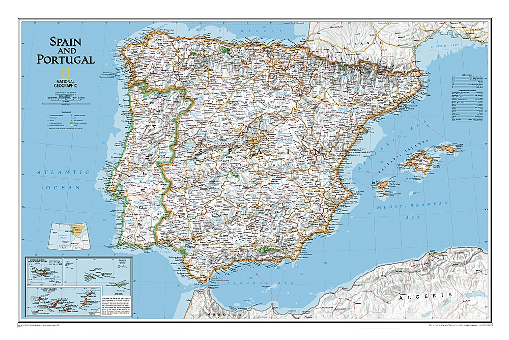 Map Of Spain And Surrounding Islands.Spain And Portugal Classic National Geographic Wall Map