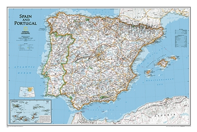 Spain & Portugal Classic National Geographic Wall Map. This wall map of Spain and Portugal shows both countries in incredible detail. Also included are inset maps for major cities and surrounding islands.