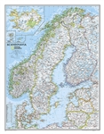 Scandinavia Political Wall Map - National Geographic. This beautiful wall map of Scandinavia and surrounding countries conforms to National Geographic's demanding cartographic standards. Unparalleled detail shows political boundaries, major cities and tow