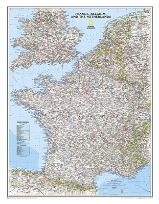 France, Belgium & Netherlands Political Wall Map - National Geographic. Our classic wall map of France, Belgium, and the Netherlands shows political boundaries, major highways and roads, cities and towns, and a wealth of other incredibly accurate geograph