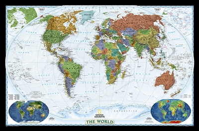 World Decorator Wall Map XL - National Geographic. Bright colors and unparalleled detail bring the world alive! Enjoy the accuracy and beauty of this world map from the cartographers at National Geographic. Created with the Winkel Tripel projection, this
