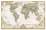 World Executive National Geographic Wall Map. This elegant, richly colored antique-style world map features the incredible cartographic detail that is the trademark quality of National Geographic. The map features a Tripel Projection, which reduces distor