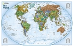 World Explorer Wall Map - National Geographic. The colorful World Explorer map is designed using the Winkel Tripel projection, which reduces the distortion of land masses near the poles. Inset charts list largest cities by population and the largest count