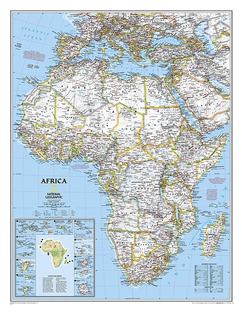 Map Of Africa Bodies Of Water.Africa Classic National Geographic Wall Map