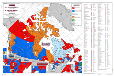 Canada General Election 2019 Wall Map - 43rd Parliament. This map shows detailed federal election results for the October 21, 2019 general election in Canada. Depicts which party was voted for in each riding throughout the country, including the Liberals,