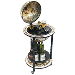 Novara Bar Globe - 13 Inch Globe. The Novara Bar Globe opens from its hinged meridian to reveal antique replica frescoes inside. Wrapped with majestic replica 16th century nautical maps and integrated wooden floor stand with casters for easy portability,