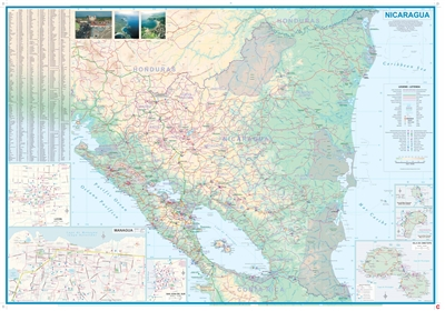 El Salvador & Southern Guatemala travel map. Nicaragua and El Salvador do not actually share a common border, but the two countries share the Central American reality of smallish countries. This map has two separate covers and two separate maps on either