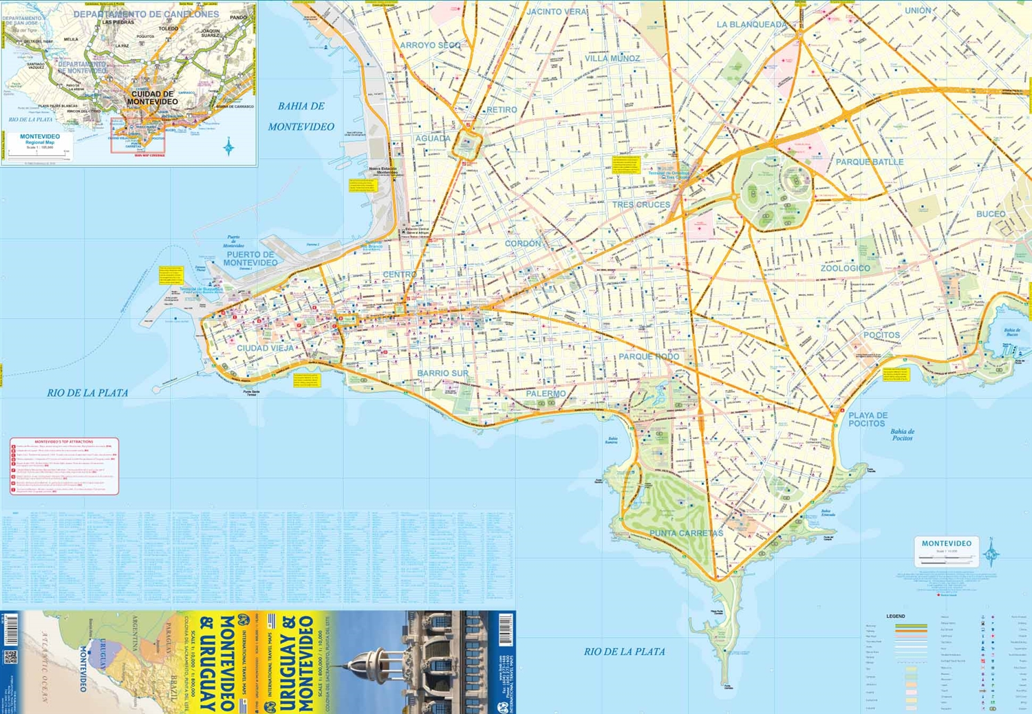 Image of: Uruguay Montevideo Travel Road Map This Is A Very Detailed Topographical Map Of Uruguay