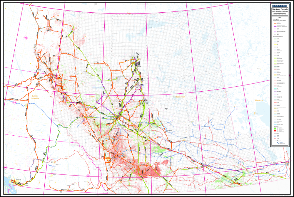 This Map Of The Western Canada Depicts Major Pipelines Wells And