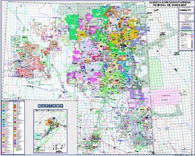 Alberta & NW Saskatchewan - Oil Sands Regional map. Showcases the location of the major heavy oil and oil sands project locations along with current company land positions. This is a laminated map covering Township 52-102 Range 22 W3 to Range 1 W6.