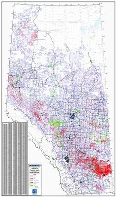 Alberta Fields & Wells map. This map shows Geological Strike Fields, which are smaller in area than Strikes, along with Oil & Gas Wells in Alberta, Canada. It has been designed to help you determine both the name and location of the Field area at a glance