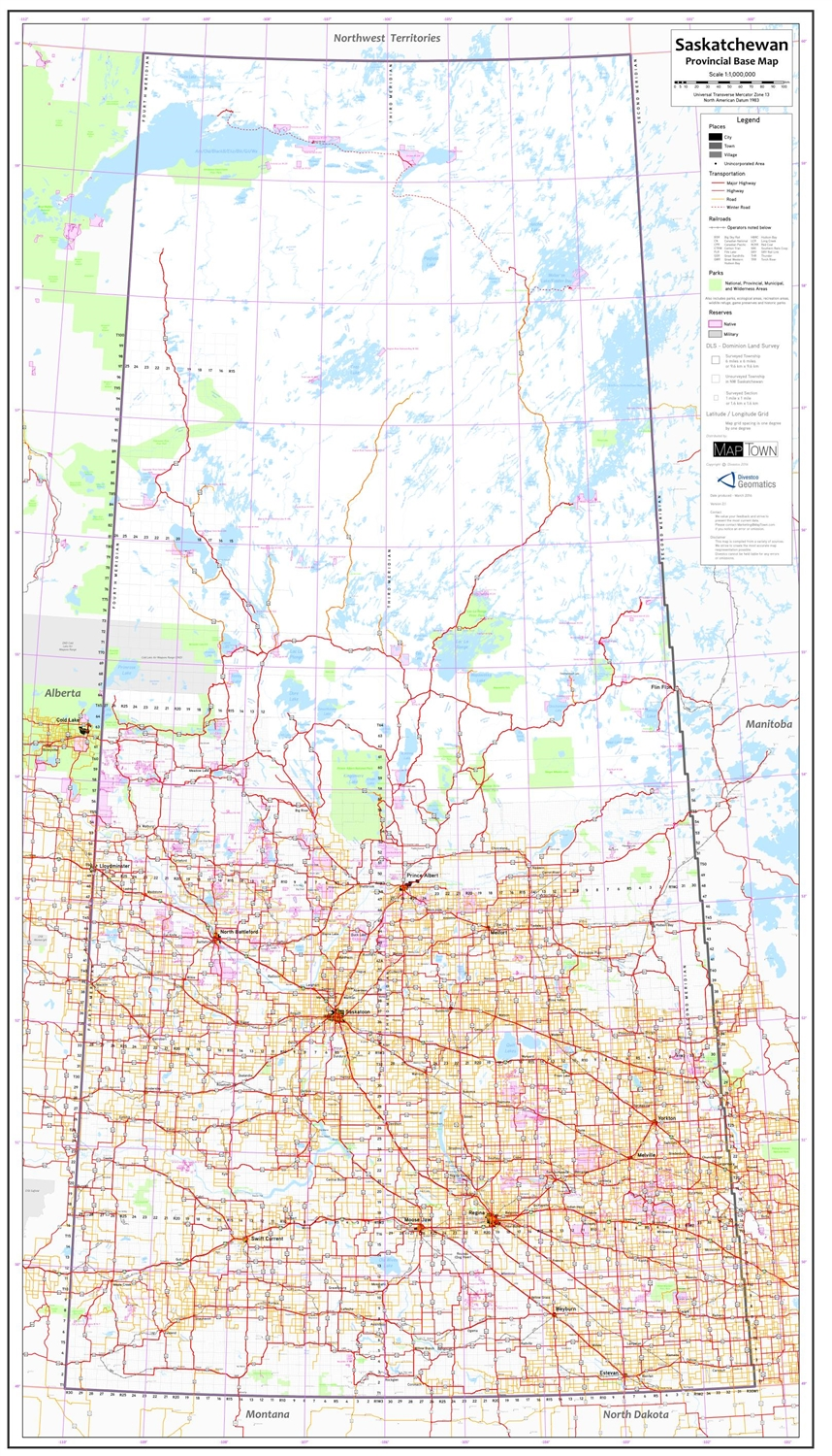 Saskatchewan Provincial Base Map 1 1 000 000