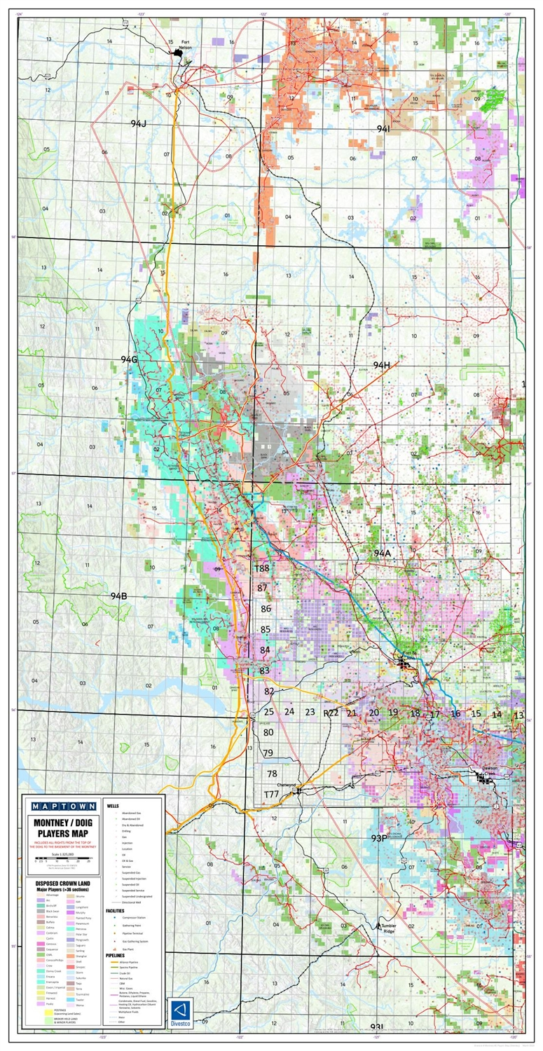 Montney West NE BC Geological Play map