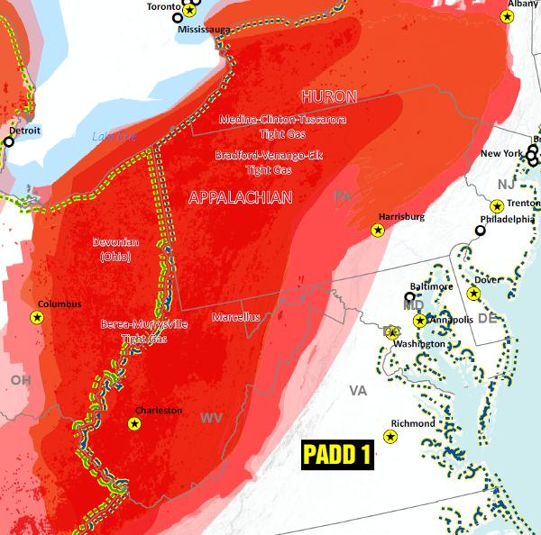USA Gas Shale Plays and Basins map