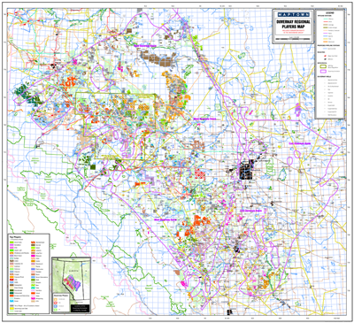 Duvernay Regional Oil and Gas Players map - Alberta. This Regional Players map covers both the East and West Duvernay Basins in Alberta. It extends from Township 36-81 Range 8 W4 to Range 13 W6. It includes current Duvernay Disposed Subsurface Crown Land