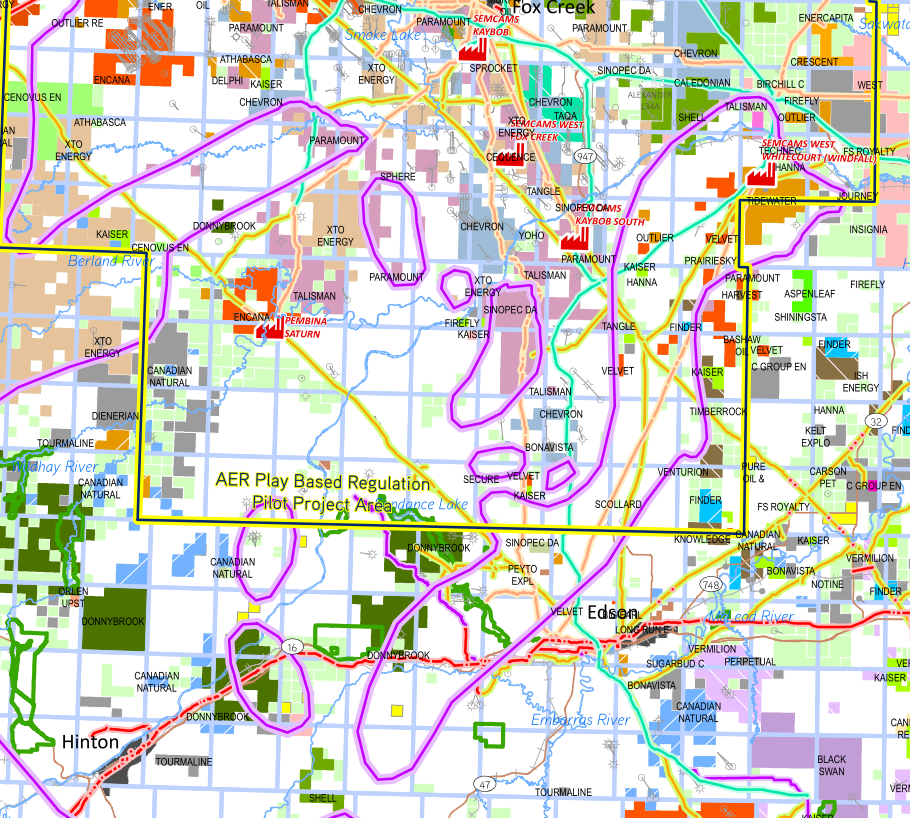 Duvernay Regional Oil and Gas Players map - Alberta