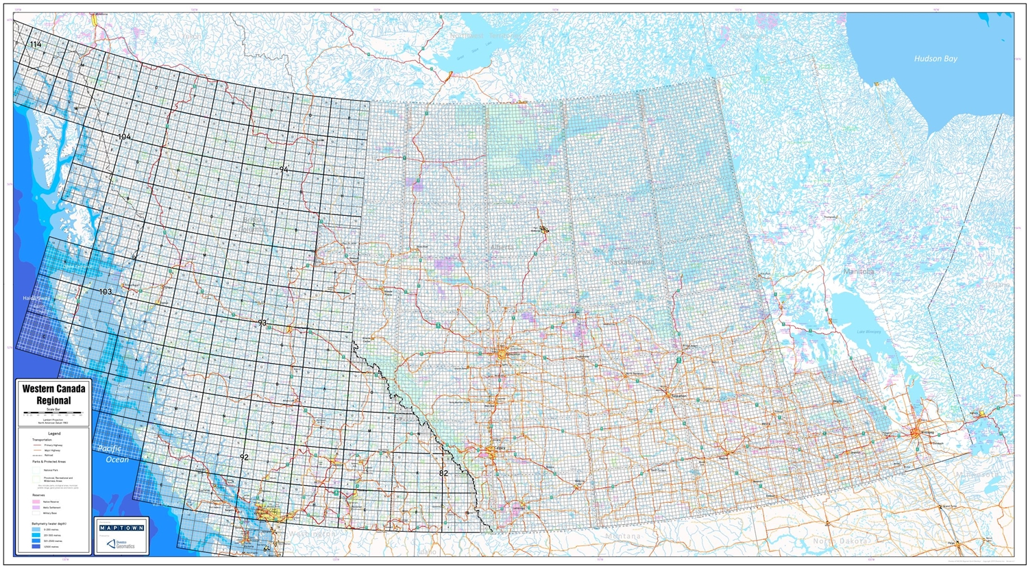 Alberta Canada Township Map Western Canada Regional Base Map with Township and NTS Grids. We