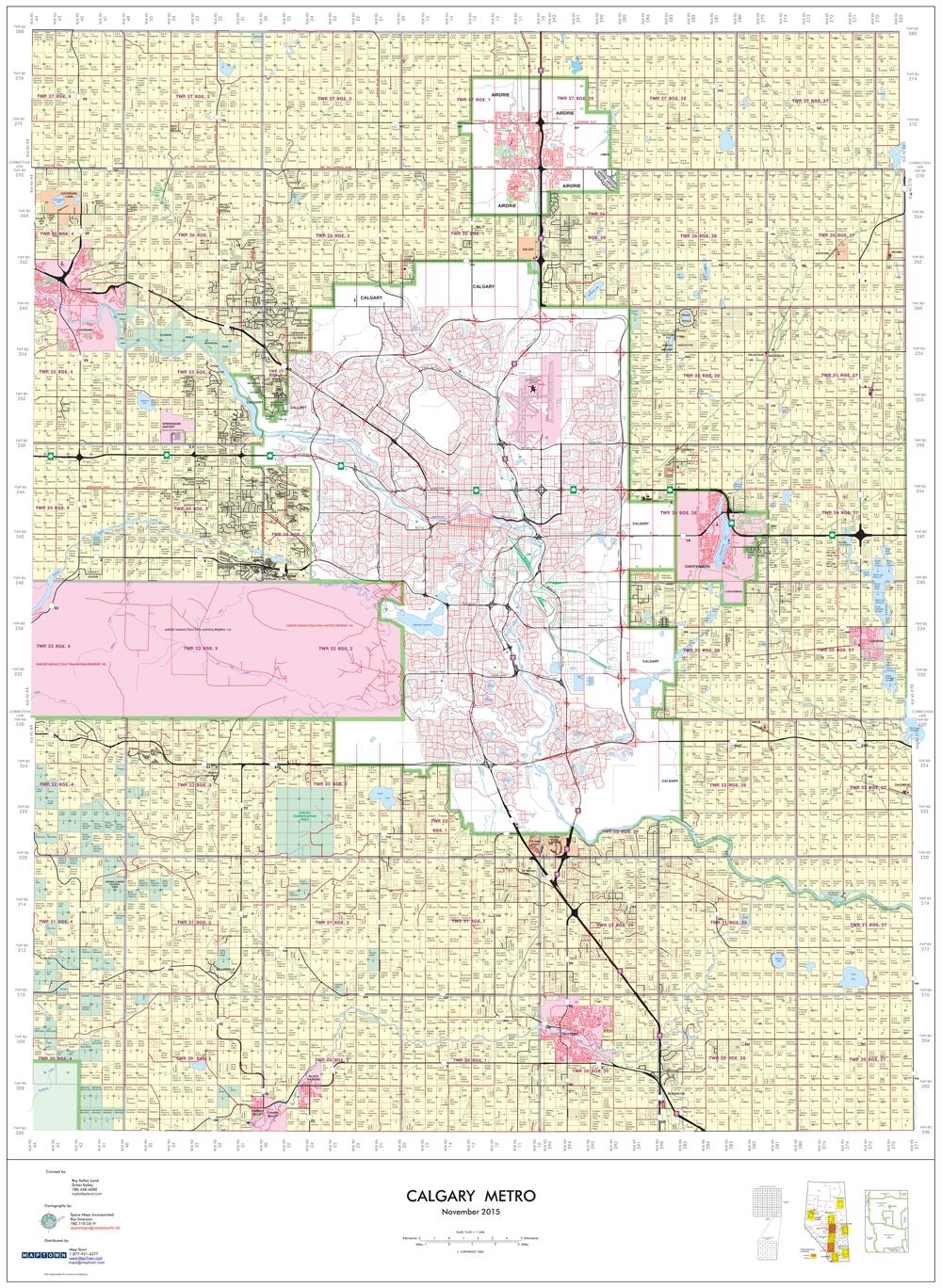 Calgary Metro Wall Map Roy Swenson