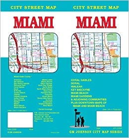 Miami - City street map of Miami, Florida includes Coral Gables, Doral, Hialeah, Key Biscayne, Miami Beach, Miami Gardens, & adjoining communities, plus downtown maps of Miami and Miami beach.