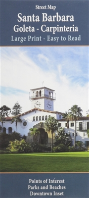 Santa Barbara, Goleta and Carpinteria California street map. Includes points of interest, parks and beaches and an inset of downtown. LArge print and easy to read. Includes the areas of Ellwood, Isla Vista, Hope Ranch, Montecito and Summerland. Includes a