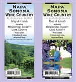 Napa & Sonoma Wine Country Map. The map includes wineries of Napa, Sonoma, Mendocino and Lake Counties California. The map has descriptive text on wine tasting and California varietals. A comprehensive index of wineries has hours, addresses and phone numb
