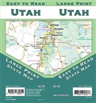 Utah State road map. Arches National Park, Bryce Canyon National Park, Logan, Salt Lake Regional, St. George, Zion National Park, Downtown Salt Lake, Mileage Chart and Recreation Chart.