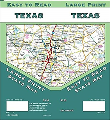 Texas State large print road map.  Easy To Read State Folded Map is a must-have for anyone traveling in and around Texas, offering unbeatable accuracy and reliability at a great price. Shows all Interstate, US state, and county highways, along with cle