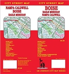 This is a city street map of these places in Idaho - Boise City, Caldwell, Eagle, Garden City, Kuna, Meridian, Middleton, Nampa, Star, Ada County, Canyon County and the local vicinity. Includes street index and points of interest.