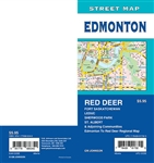 Edmonton Street Map Includes Red Deer, Fort Saskatchewan, Leduc, Sherwood Park, St. Albert, adjoining communities, and Edmonton to Red Deer regional map. It shows transportation, boundaries, services, culture centres, and road designations.
