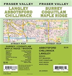 Fraser Valley & Lower Mainland BC street map. Full color map features detailed street information for Vancouver and Fraser Valley. Communities Included, Abbotsford, Anmore, Belcarra, Burnaby, Chilliwack, Coquitlam, Delta, Hope, Ladner, Langley, Langley To