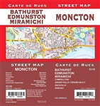 Moncton Street Map Includes Moncton, Bathurst, Campellton, Dieppe, Edmunston, Grand Falls/Grand-Sault, Miramichi, Riverview, Sackville, Shediac, New Brunswick / Nouveau-Brunswick Overview Map. It shows transportation, boundaries, services, culture centres