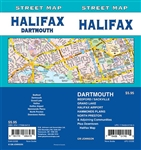 Halifax Street Map Includes Dartmouth, Bedford / Sackville, Grand Lake, Halifax Airport, Hammonds Plains, North Preston and adjoining communities, Downtown Halifax. It shows transportation, boundaries, services, culture centres, and road designations.