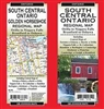 South Central Ontario Road Map.  Regional map includes Toronto, Oshawa, Barrie, Orilla, Niagara Falls, St. Catherines, Hamilton, Burlington, Cambridge, Kitchner, Waterloo, Guelph, Brantford.