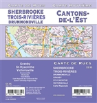 Cantons-De-L'est Street Map Includes Granby, St-Hyacinthe, Victoriaville, Drummondville, Sherbrooke, Trois-Rivieres, eastern townships regional map. It shows transportation, boundaries, services, culture centres, and road designations.