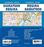 Regina Saskatoon Road Map Includes Regina, Saskatoon, Southern Saskatchewan, Battlefords, Moose Jaw, Price Albert, Swift Current, Downtown Saskatoon and University Area. It shows transportation, boundaries, services, culture centres, and road designations