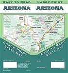 Arizona State USA large print road map. Easy To Read State Folded Map is a must-have for anyone traveling in and around Arizona, offering unbeatable accuracy and reliability at a great price. Our trusted cartography shows all Interstate, U.S., state, and