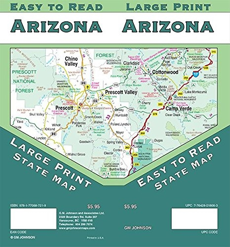Arizona State USA large print road map