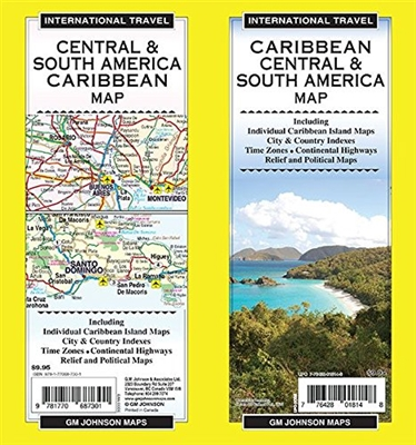 Central and South America plus Caribbean travel and road map. This well laid out map shows every major island in the Caribbean, has city and country indexes, time zones, highways, airports, places, relief, political boundaries and much more. Printed on wa
