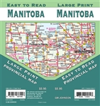 Manitoba Road Map Includes Manitoba North, Manitoba South & Northwestern Ontario, Vicinity maps of Winnipeg, Dauphin, Thompson, Brandon, Portage la Prairie, Downtown Winnipeg. The map includes Manitoba's distance chart, major walking trails, parks, campgr